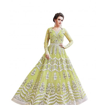 Ugrowth Collection Green Net Embroidered Un-Stitched Dress Material