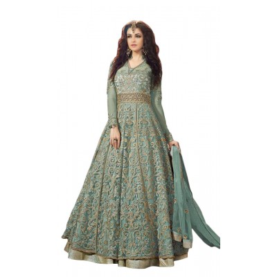 Ugrowth Collection Blue Net and Georgette Embroidered Un-Stitched Dress Material