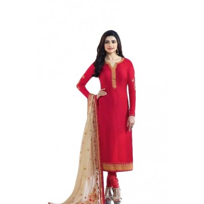 Ugrowth Collection Red Georgette Embroidered Un-Stitched Dress Material