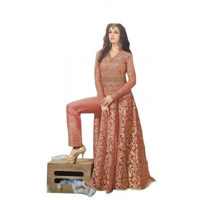 Ugrowth Collection Maroon Net and Georgette Embroidered Un-Stitched Dress Material