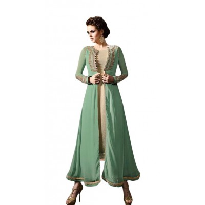 Ugrowth Collection Sea Green Georgette Embroidered Un-Stitched Dress Material