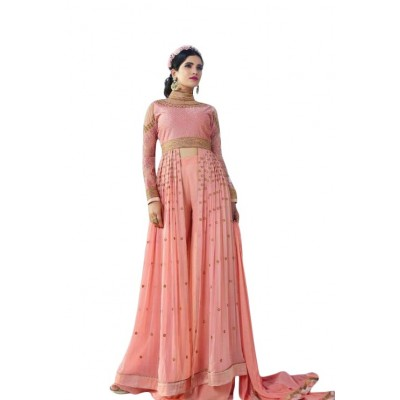 Ugrowth Collection Peach Georgette Embroidered Un-Stitched Dress Material