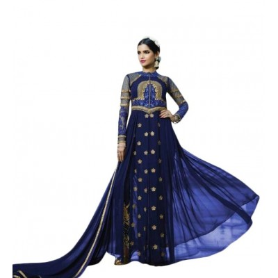 Ugrowth Collection Royal blue Georgette Embroidered Un-Stitched Dress Material