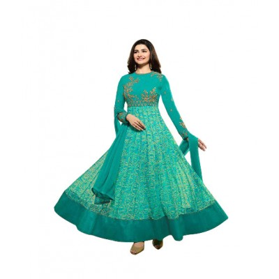 Ugrowth Collection Sea Green Satin Georgette Embroidered Un-Stitched Dress Material