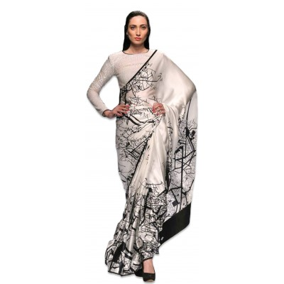 Ugrowth Collection KT - 3019 Black & White Silk Printed Saree