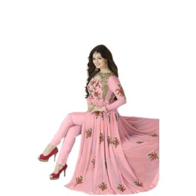 Ugrowth Collection Pink Georgette Embroidered Un-Stitched Dress Material