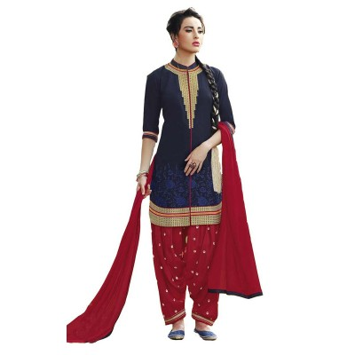 Ugrowth Collection Navy Blue Cotton Embroidered Un-Stitched Dress Material