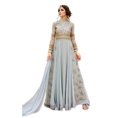 Ugrowth Collection Ash Georgette Embroidered Un-Stitched Dress Material