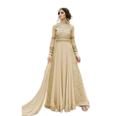 Ugrowth Collection Ivory Georgette Embroidered Un-Stitched Dress Material