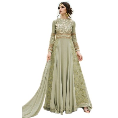 Ugrowth Collection Green Georgette Embroidered Un-Stitched Dress Material