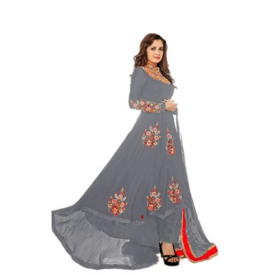 Ugrowth Collection Ash Georgette Embroidered Semi-Stitched Dress Material