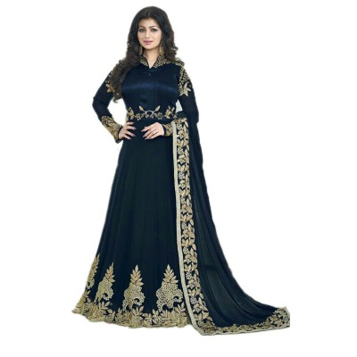 Ugrowth Collection Navy Blue Georgette Embroidered Un-Stitched Dress Material