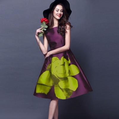 Ugrowth Collection Purple Satin Printed Flared Dress