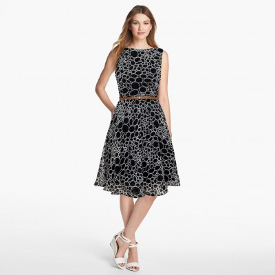 Ugrowth Collection Black Georgette Printed Flared Dress