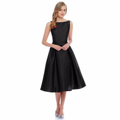 Ugrowth Collection Black Taffeta Flared Dress