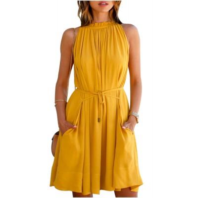 Ugrowth Collection Yellow Crepe Halter Dress