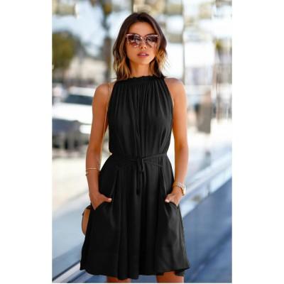 Ugrowth Collection Black Crepe Halter Dress