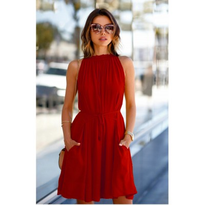 Ugrowth Collection Red Crepe Halter Dress