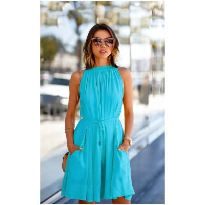 Ugrowth Collection Sky Blue American Crepe Halter Dress