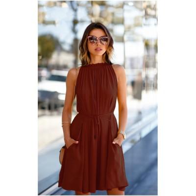 Ugrowth Collection Maroon American Crepe Halter Dress