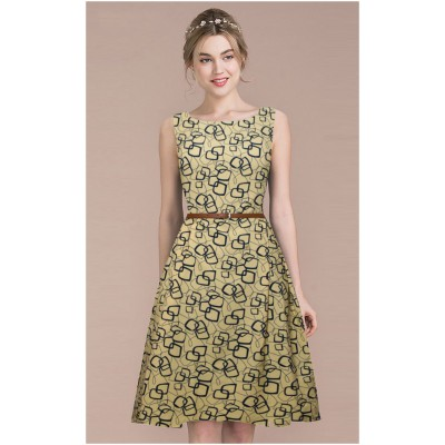 Ugrowth Collection Mustard Crepe Printed Flared Dress