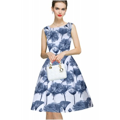 Ugrowth Collection Grey Crepe Floral Printed Flared Dress