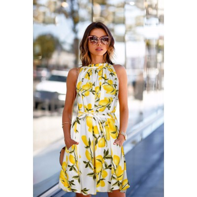 Ugrowth Collection Yellow Crepe Floral Printed Halter Dress