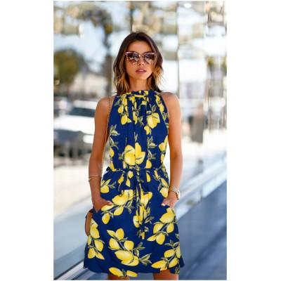 Ugrowth Collection Blue Crepe Floral Printed Halter Dress