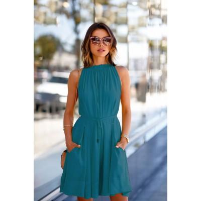 Ugrowth Collection Blue Crepe Halter Dress