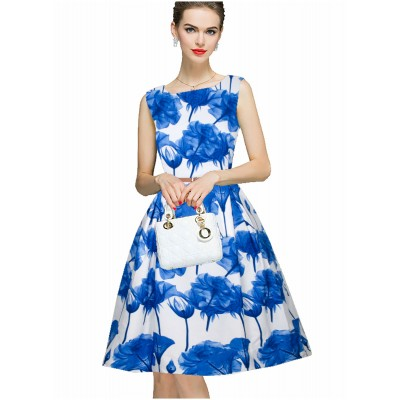 Ugrowth Collection Blue Crepe Floral Printed Flared Dress
