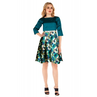 Ugrowth Collection Green Satin Printed Straight Dress