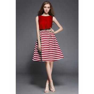 Ugrowth Collection Red Taffeta Printed Flared Dress