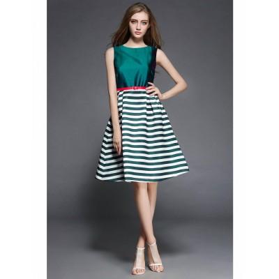 Ugrowth Collection Green Taffeta Printed Flared Dress