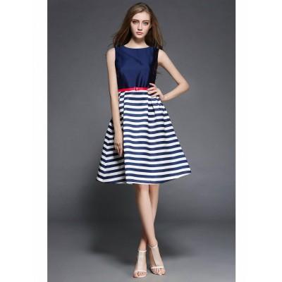 Ugrowth Collection Blue Taffeta Printed Flared Dress