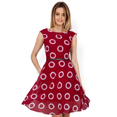 Ugrowth Collection Maroon Georgette Printed Flared Dress
