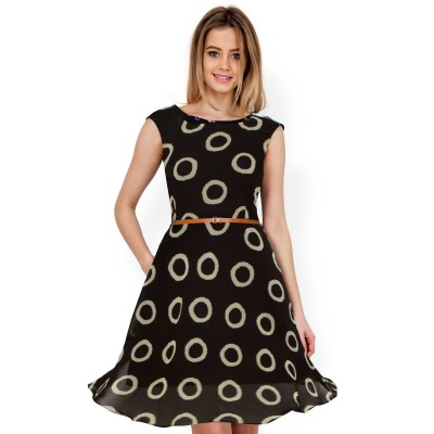 Ugrowth Collection Brown Georgette Printed Flared Dress