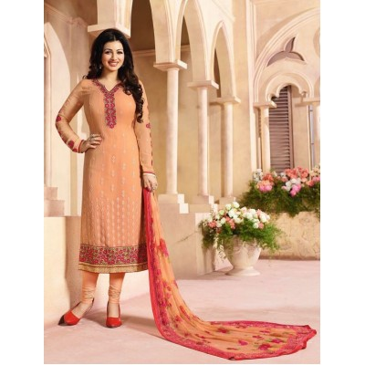 Ugrowth Collection Orange Georgette Embroidered Un-Stitched Dress Material