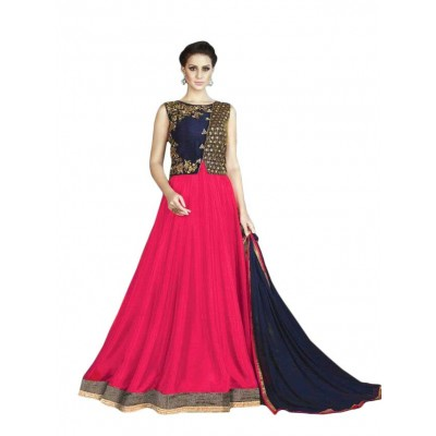 Ugrowth Collection Rose Banglori Silk Embroidered Un-Stitched Dress Material