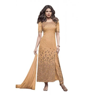 Ugrowth Collection Yellow Net Embroidered Un-Stitched Dress Material