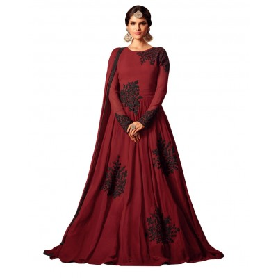 Ugrowth Collection Maroon Net Embroidered Un-Stitched Dress Material