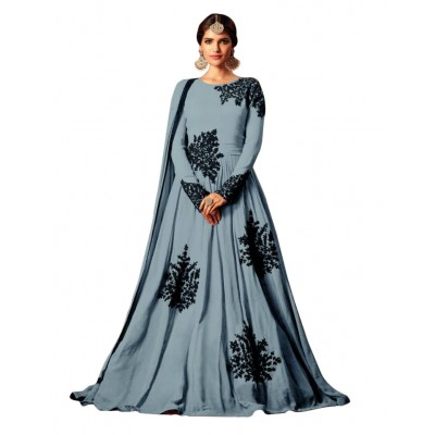 Ugrowth Collection Grey Net Embroidered Un-Stitched Dress Material