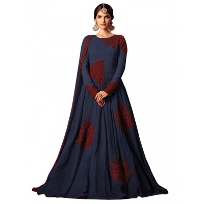 Ugrowth Collection Navy Blue Net Embroidered Un-Stitched Dress Material