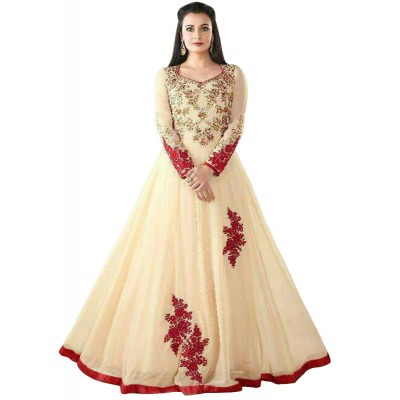 Ugrowth Collection Cream Georgette Embroidered Un-Stitched Dress Material