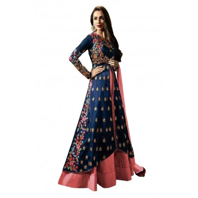 Ugrowth Collection Multi Colour Taffeta Silk Embroidered Un-Stitched Dress Material