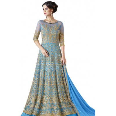Ugrowth Collection Blue Net Embroidered Un-Stitched Dress Material