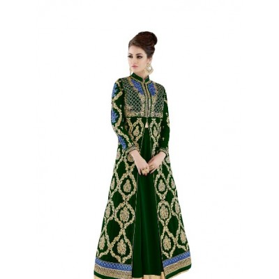Ugrowth Collection Green Chanderi Embroidered Un-Stitched Dress Material