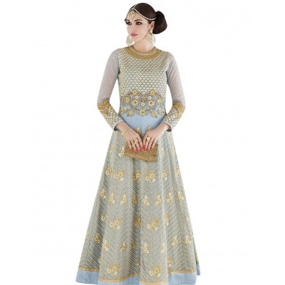 Ugrowth Collection Blue Georgette Embroidered Un-Stitched Dress Material