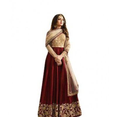 Ugrowth Collection Maroon Fantom and Santoon Embroidered Un-Stitched Dress Material