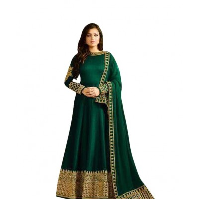 Ugrowth Collection Green Banglori Silk Embroidered Un-Stitched Dress Material