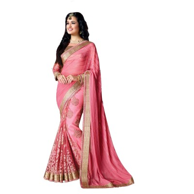 Ugrowth Collection Pink Georgette & Nylon Embroidered Designer Saree